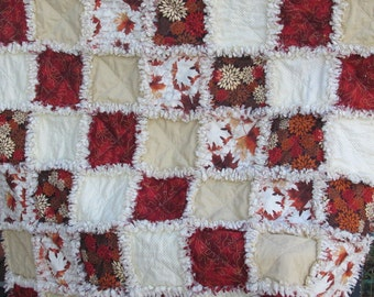 Rag quilt, fall, autumn, leaves, trees, baby rag quilt, shabby chic