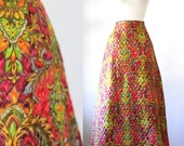 Vintage Maxi Skirt 1970s Maxi Skirt 1970s Clothing Womens Long Skirt Hippie Clothes Bright Colored Maxi Skirt Printed Quilted Size Medium