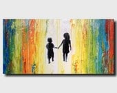 Original Large Abstract painting - 18 X 36 Artist JMJartstudio- Always Friends-Wall art - Silhouette painting-Oil painting FREE US SHIPPING