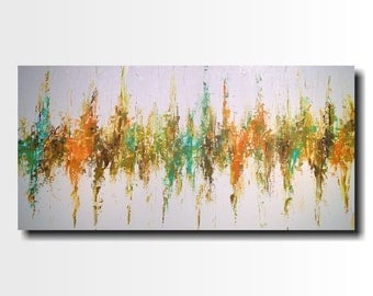 Original Large Abstract painting - 24 X 48 FREE US Shipping JMJartstudio- Renewal-Wall art-wall decor - Blue painting-Oil painting