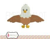 American Eagle embroidery design. Super cute patriotic embroidery. American Eagle machine embroidery in filled stitch.