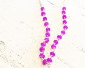 Orchid purple and wooden bead necklace