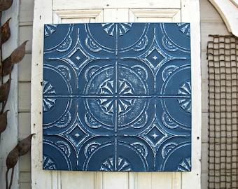 Vintage Ceiling Tin Tile. 2'x2'. 10th Tin Anniversary Gift.  FRAMED Metal tile. Antique Architectural salvage, Indigo Blue Wall Decor Art