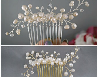 Bridal Hair Comb, Wedding Hair Accessories, Cream freshwater pearls crystals, Hand wired, Ivory Elegant Headpiece, Hair vines, Creamy pearls