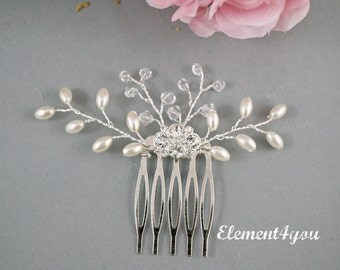 Bridal hair comb, Small metal comb, Choice of silver or gold, Ivory comb, Cream comb, Bridal hair accessories, Vines of crystals, rice beads