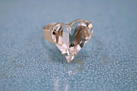 Swarovski Heart Crystal Adjustable Ring Light Rose Gold Nickle Free Clear Sparkly Large Heart Crystal ONLY PIECE