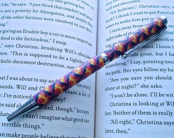 Chevron Pen, Custom Pen, Polymer Clay Pen, Millefiori Pen, Tie-Dye Pen, Designer Pen, Handmade Pen, Colorful Pen, Art Pen