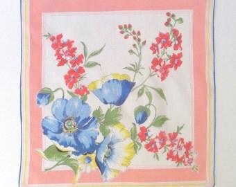 Handkerchief Vintage Blue Flowers
