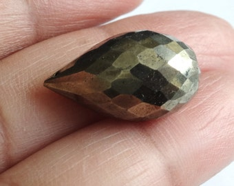 Pyrite Briolette, 20.31 mm, Faceted Teardrop Pyrite Briolette, Fools Gold, Focal Pyrite Drop. Pyrite Gemstone Bead