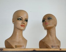Vintage Lady Mannequin Head Bust Female 1960s Wig Form Millinery Hat Display Sassy Eyelashes 1970s Fiberglass Lifelike Jewelry Wigs Stand