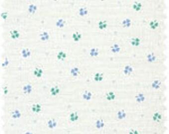 Little shamrocks - aqua blue green clovers on white - low volume quilt fabric by Daiwabo Japan