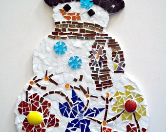 Mosaic Snowman Wall Hanging, Flower Power Snow Dude - 10 Inches
