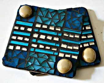 Mosaic Coasters, Stained Glass Mosaics, Coasters, Trivets, Drink Holder, Great Gift Idea, For The Home, Stained Glass, Coworker - 4 Inches