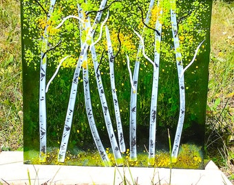 Aspen Fused Glass Panel - Green/Spring/Stone Base