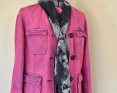 Pink Sz 12 Medium Denim JACKET - Fuchsia Magenta Dyed Upcycled Old Navy Denim Safari Barn Jacket - Adult Women Size Medium (40 chest)