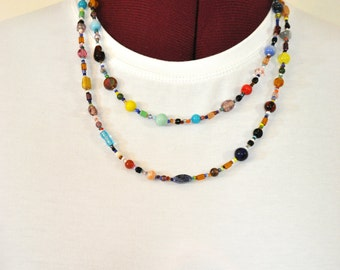 """Beaded NECKLACE - Long 21"""" (42"""") Multiple Primary Colors Peach Red Aqua Teal Amber Seed Bead Glass Bead - Goes with Everything Necklace 59"""