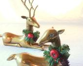 Brass Deer Figurines, Buck Doe Christmas Holiday Winter Decor, Lying Down, Midcentury Modern, Large Heavy Korean 70s