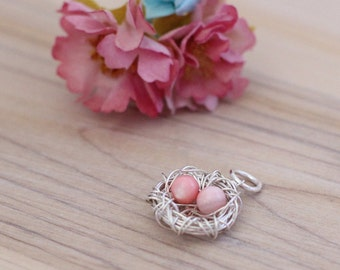 Birds nest pendant, Sterling silver wire nest charm, Custom Mothers day pendant