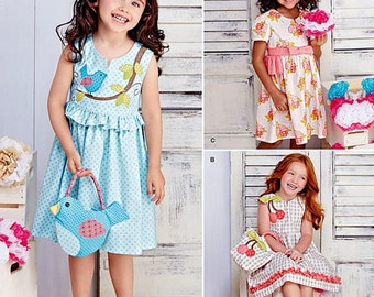 Little Girls' Dress and Purse Pattern, Sunday Dress Pattern, Birdy Dress and Purse Pattern, Simplicity Sewing Pattern 8063