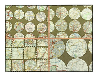 73 map die cuts, English map, rounds and squares, paper craft supply, scrapbook paper, vintage map of Yorkshire towns and villages.
