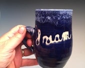 DREAM Pottery Coffee Mug cobalt blue and white