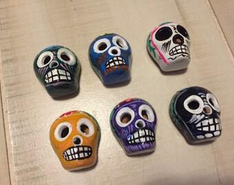 Glazed Clay Skull Magnet