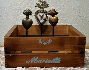 Wood Crate - Hand Painted Wood Box - French Script - Wood Shelf - Rustic Shelf - Wall Art - Farmhouse Home Decor