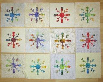 """12 Large Batik Quilt Block Appliques 9 1/2"""""""