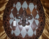 "SALE! ~ You get this one! / Leopard Harlequin ~ "" MacKenzie-Childs Inspired "" Toilet Seat  w Fleur de Lis ~ 16"" Round ~ Ready to Ship"
