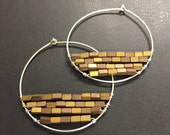 Sterling Silver hoop earrings with rectangular wire wrapped hemitate