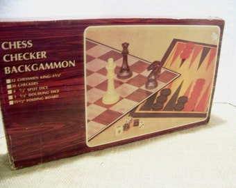 Vintage Chess Checkers Backgammon Board Game Vintage Game