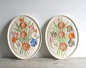 Vintage Atlantic Mold Floral Ceramic Wall Plaques Set