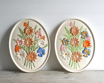 Vintage Atlantic Mold Floral Ceramic Wall Plaques Set