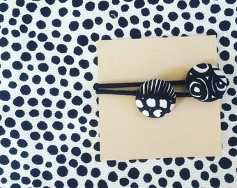 Fabric Button Hair ties Made With Marimekko Siirtolapuutarha Fabric