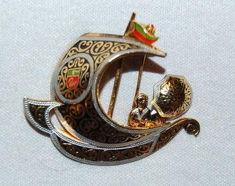 Vintage /  Damascene / Ship / People / Parasol / Sail Boat / Brooch / Red / Green / Enamel / old / jewelry / jewellery