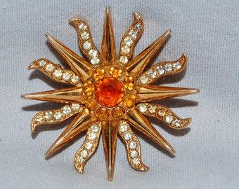 Vintage / Large / Rhinestone / Brooch / Sun / Amber / Gold / Old /  jewellery / jewelry