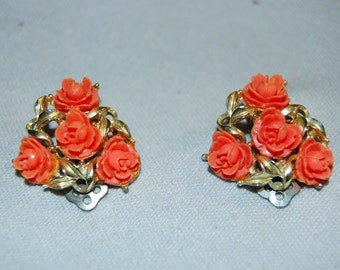 Vintage / Coral / Victorian Style / Earrings / Roses / Flowers / old / jewelry / jewellery