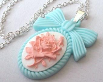 Pastel Blue and Pink Rose Necklace, Blue Rose Cameo Necklace, Bow Necklace, English Rose, Pink and White Rose