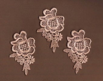 Hand Dyed Venise Lace Appliques Vintage Blush Latte Florals Set of 3