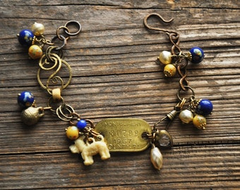 Vintage Terrier Dog Tag Charm Bracelet in Yellow and Blue Millefiori - Vintage Assemblage