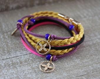 Boho bracelet, double wrap bracelet, boho colorful bracelet,  braid bracelet, yellow honey braid bracelet