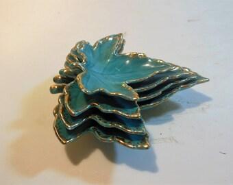 Vintage 50s Stacking Ceramic Leaves, Turquois & Gold,  The Studio, Treasure Island Florida