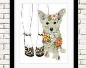 My Cairn Terrier and I 8 x 10 inch Floral Art Print - Wall Art Home Art
