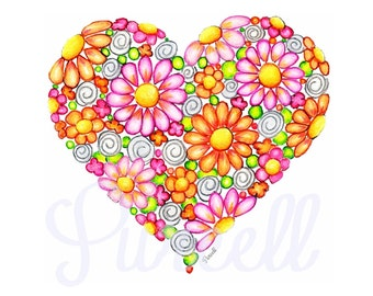 Rich Heart- Deep Pink and Bright Orange Daisy Heart 8 x 10 inch Floral Art Print- Wall Ary Home Decor