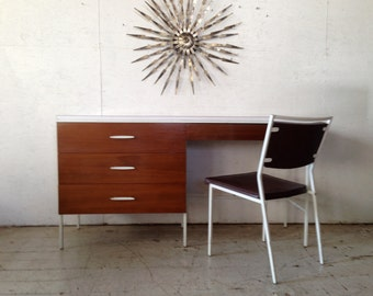 Desk by Vista Furniture of California Mid Century Modern Desk & Chair Eames Nelson era 1960s vanity desk eames era