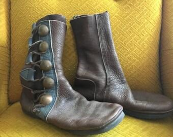Handmade Boots Moccasins sz 10 Renaissance Leather Womens Footloose Aspen brown blue