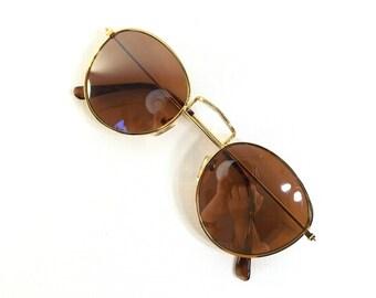 vintage 90s deadstock sunglasses round metal frame sun glasses eyewear fashion men women unisex gold tortoise dark brown simple classic nos