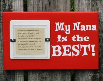 4X4 Picture Frame Wooden Block My Nana is the Best Wood Poppy Orange White