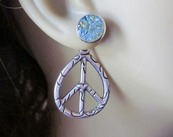 Peace Sign Earrings Peace Sign Studs Hippy Earrings Reverse Earrings Speckled Earrings Pressed Glass Jewelry Protest Jewelry Big Peace Sign
