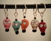 Stitch Markers, set of 5, Skulls